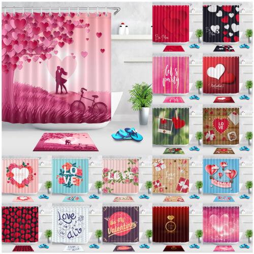 "72/"" Valentine Love Hearts Waterproof Fabric Shower Curtain Set Bathroom 12 Hooks"