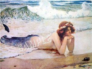 Victorian-MERMAID-Ocean-BEACH-CANVAS-Art-Print-LARGE