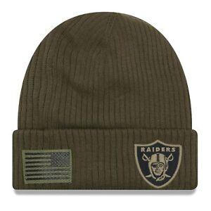 9fee83323 2018 Oakland Raiders Era NFL Salute to Service Knit Hat Sideline Beanie Cap