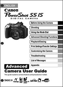 canon powershot s5 is digital camera user guide instruction manual rh ebay com  canon powershot s5is owners manual