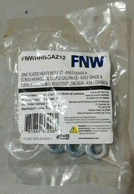 "Heavy Hex Nuts 1//2/""-13 Zinc Coated 1//2/"" Coarse Thread BOX of 50"