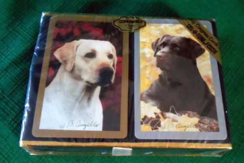 VINTAGE PLAYING CARDS CONGRESS CELUTONE GOLDENCHOCOLATE LABRADORS SEALED