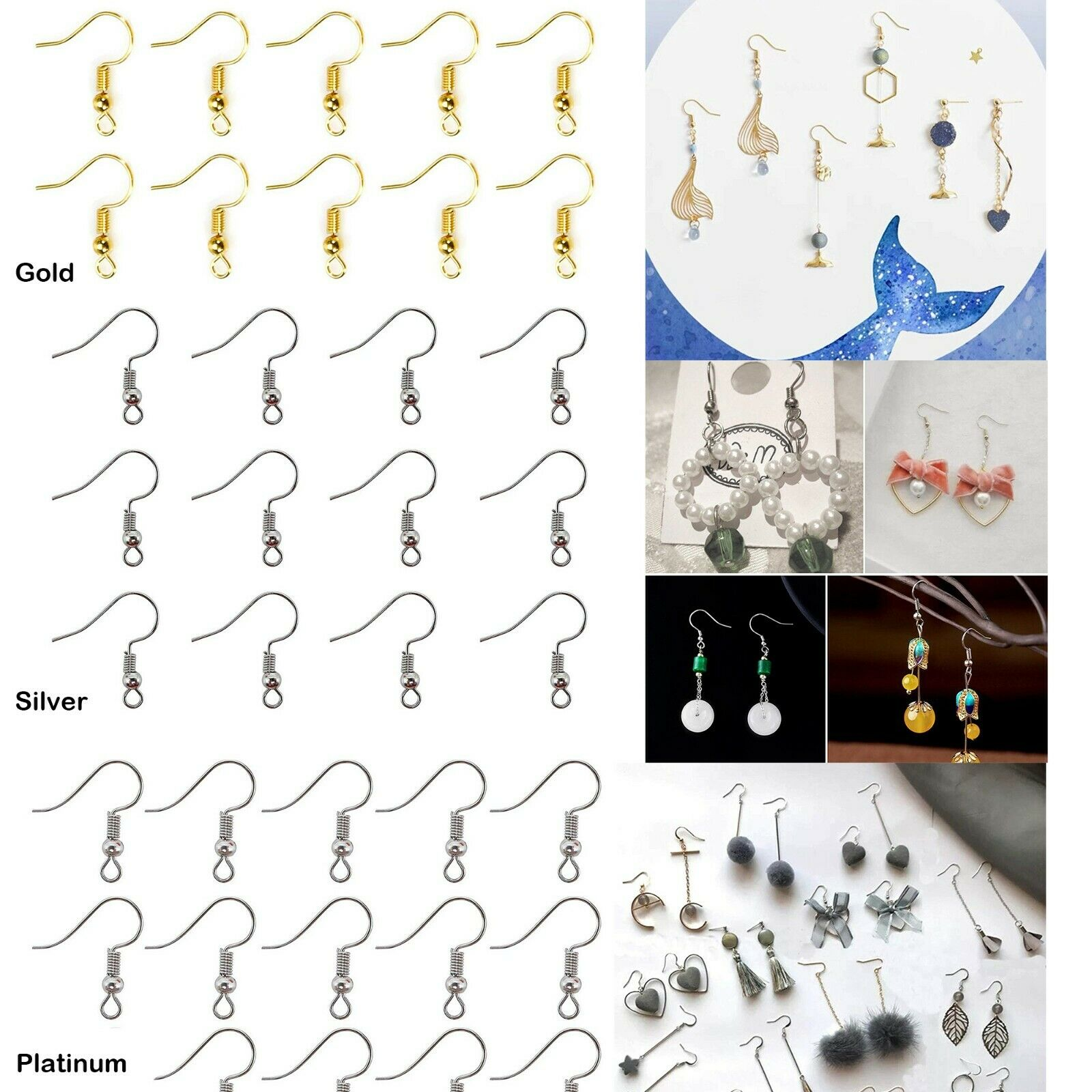 EOPER 100 Pieces Earring Hooks 925 Sterling Silver Fish Hooks Ear Wires French Wire Hooks with 100 Clear Rubber Earring Safety Backs for DIY Earring Jewelry Making