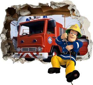 Details zu Feuerwehrmann Sam Fireman Wandtattoo Loch STICKER 3D  Wandaufkleber NEU XL 60w