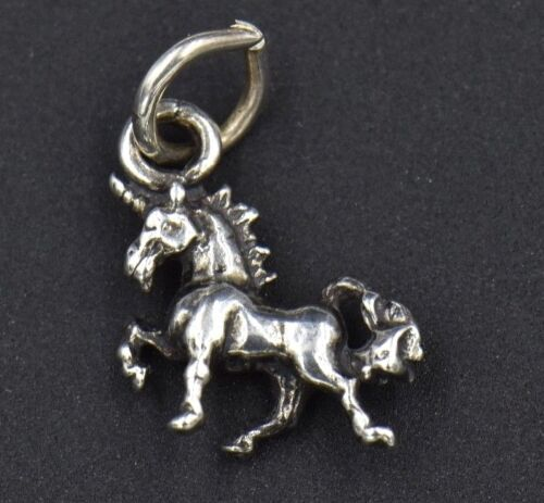 3D Unicorn Magical Horse Sterling Silver Charm Detailed Small Leg Up Standing