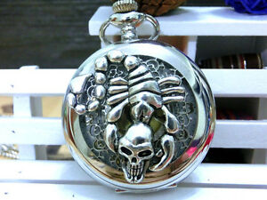 Antique-Skull-Scorpion-holow-silver-steampunk-golden-dial-pocket-watch-necklace
