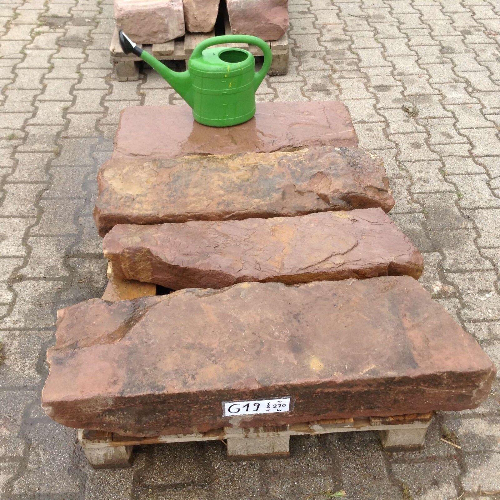 4 Antiguo Piedra Arenisca Friese la Natural Pilar Niveles Blockstufe Escalones G