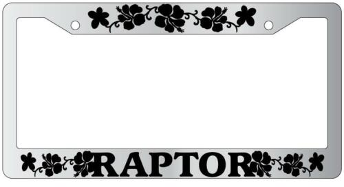 Chrome License Plate Frame RAPTOR HIBISCUS Auto Accessory
