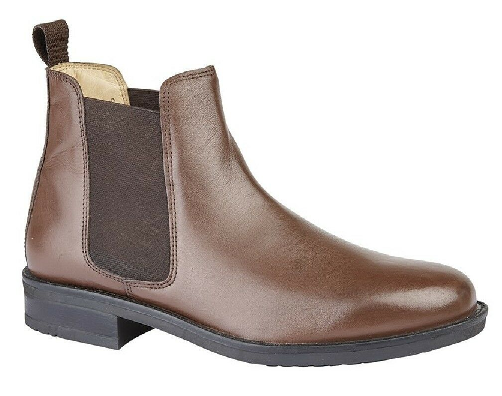 Roamers Leather Twin Gusset Boots Chelsea Padded Ankle Casual Boots Gusset 9c0a87