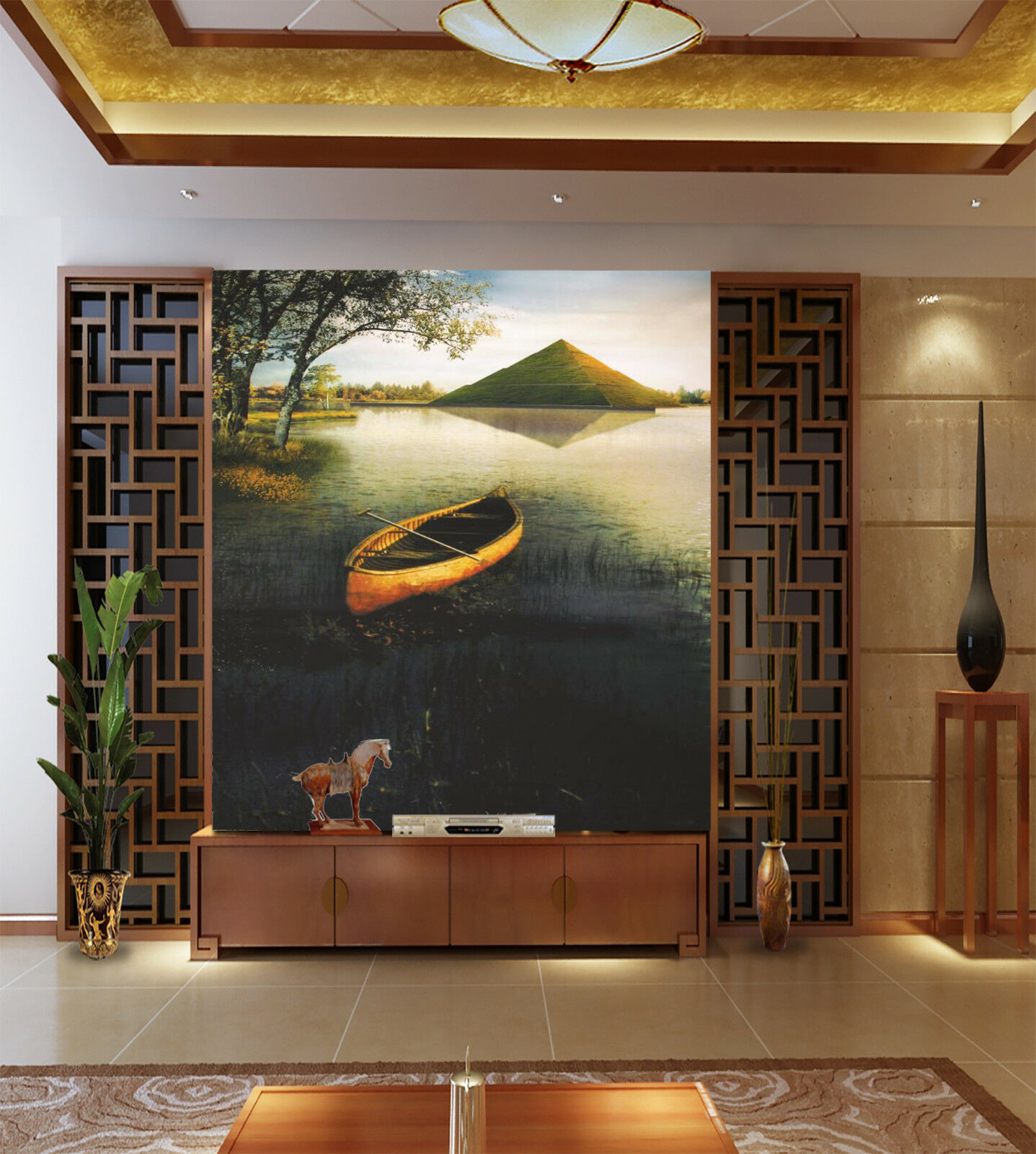 3D Pyramid Sea Boat 83 Wall Paper Murals Wall Print Wall Wallpaper Mural AU Kyra