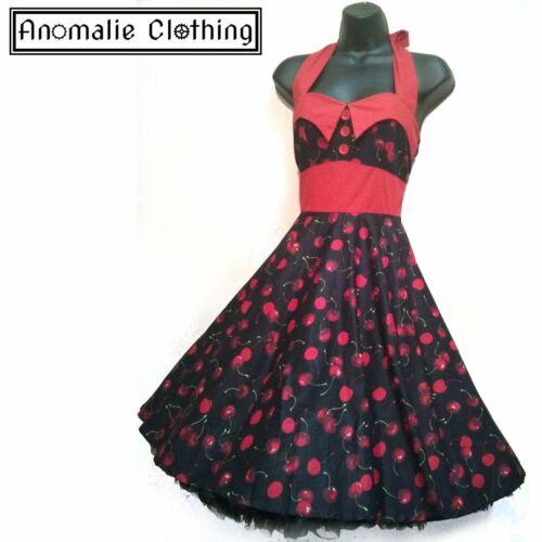 Lady Mayra Black and Red Cherry Print Ashley Dress Retro Pinup Rockabilly Lolita