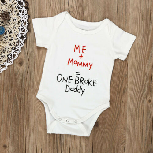 Newborn Infant Baby Boy Girl Short Sleeve Letter Romper Jumpsuit Outfits Clothes