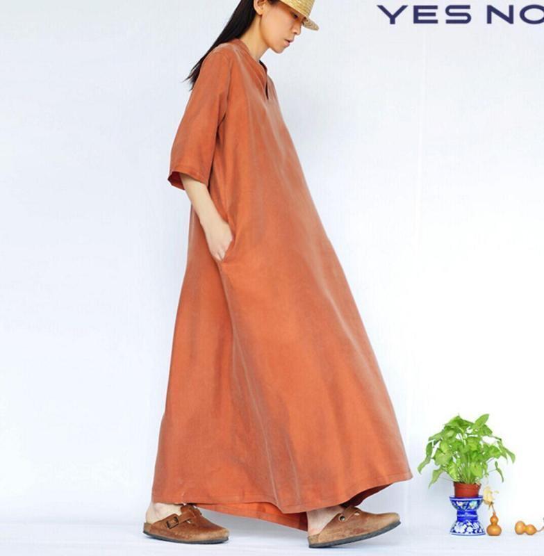 New Casual Womens Long Dress Caftan Loose Fit  Silk 3 4 Sleeve Shirt Collar ADE