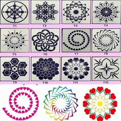 12Pcs//Set Painting Mandala Dotting Stencils Template For Walls Floors DIY Decor