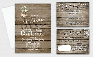 Details About Wedding Invitations Invites And Rsvp Cards Complete Set Of 60 Rustic Invite