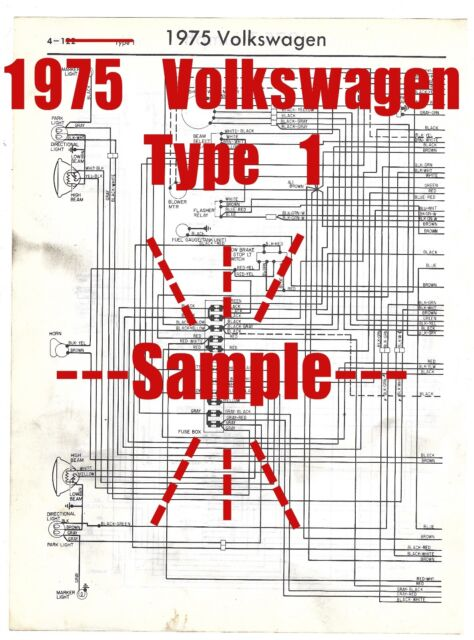 1975 Volkswagen Type 1 Bug Full Wiring Diagram *High ...