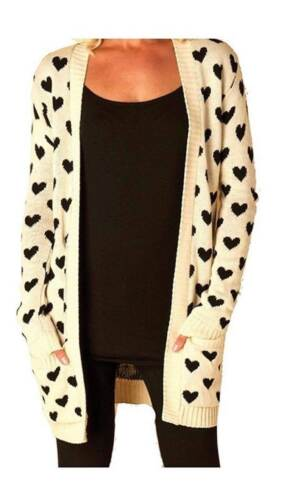Ladies New Open Knitted Boyfriend 2 Pocket All Over Multi Hearts Cardigan Mult