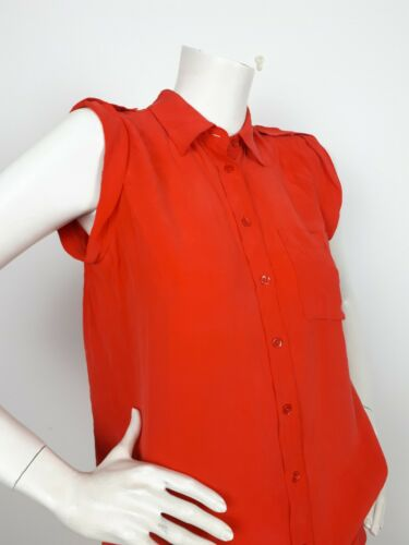 Silk Shirt Equipment 100 Epaulettes Xs Coral Sleeveless Red 8vxF5wnFYq