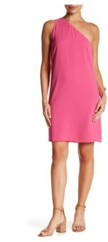 *3 Day Sale* $99 Nordstrom Charles Henry One Shoulder Fuscia Sheath Dress Sz Xs