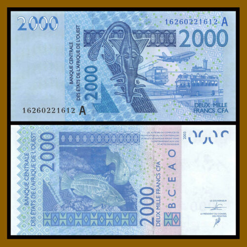 W.A.S West African States, Ivory Coast 2000 Francs, 2016 P-116An Mask Fish Unc