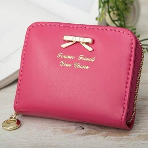 Damen Mini Kunstleder Geldbörse Portemonnaie Geldbeutel Geldtasche Brieftasche