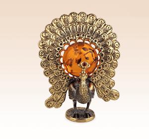 Miniature Bronze Figurine Peacock with amber sculpture manual processing rare