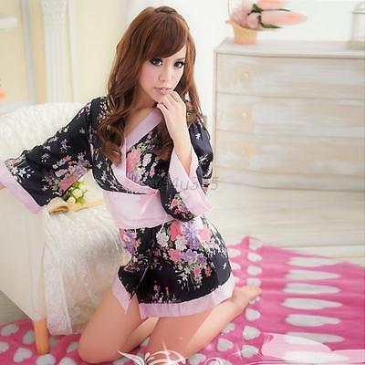 Women Kimono Lingerie Babydoll Silk Slippy Thongs Belt Nightgown Nightwear Robe