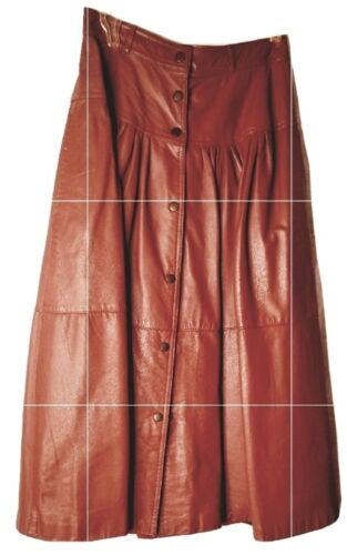 Vintage Toffs Brown Leather Flare Skirt XS