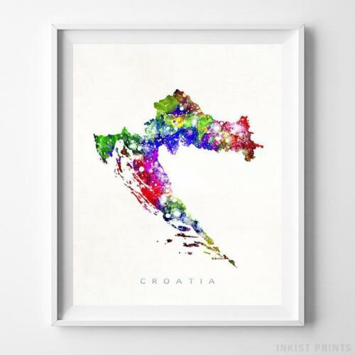 Croatia Watercolor Map Wall Art Home Decor Poster Artwork Gift Print UNFRAMED