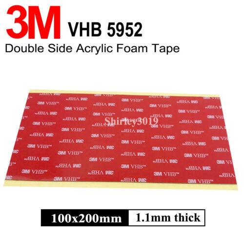 1 x BLACK 3M VHB Acrylic Foam PAD ~ 100mm x 200mm x 1mm Thick ~ Automotive Tape