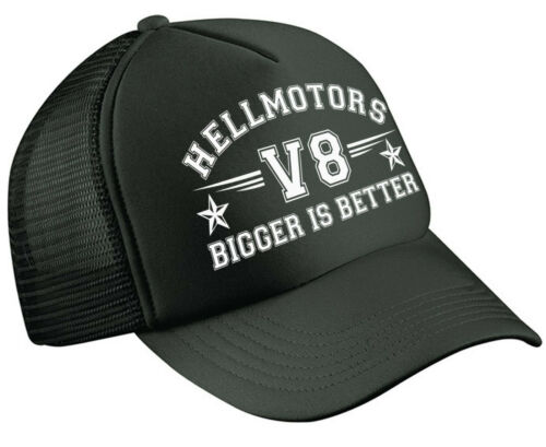 V8 bigger is better Hotrod Trucker Cap Cappuccio Rockabilly Oldschool Berretto Nero
