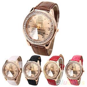 Fashion-Women-Faux-Leather-Crystal-Rhinestone-Eiffel-Tower-Quartz-Wrist-Watch