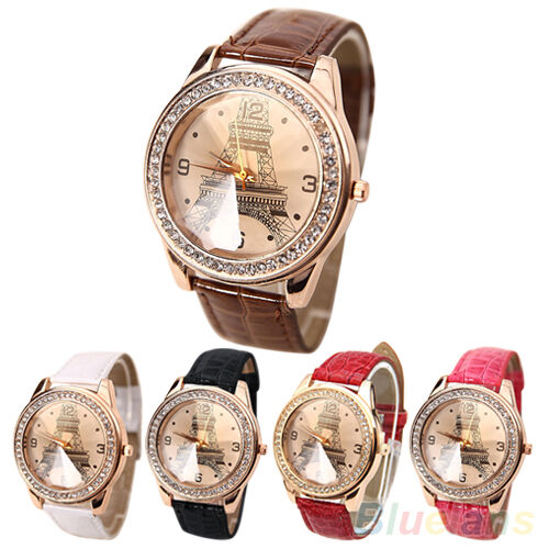 Fashion Women Faux Leather Crystal Rhinestone Eiffel Tower Quartz Wrist Watch