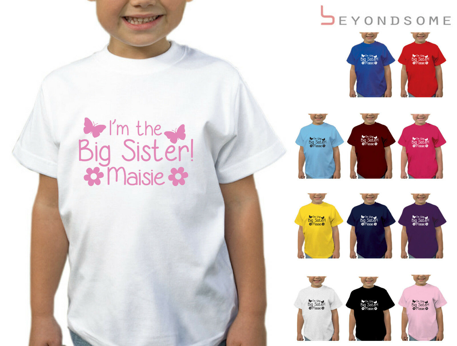 GIRLS PERSONALISED IM GOING TO BE A BIG SISTER BUTTERFLY KIDS T-SHIRT T SHIRT