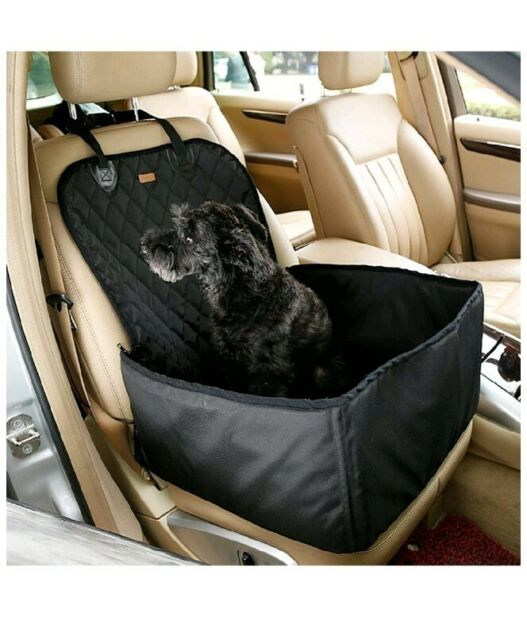 Maxmer Dog Cat Lookout Booster Seat 2 in 1 Pet Car Front Seat Covers for Vehicle Supplies Protector Cover Waterproof Puppy Travel Bag Beige