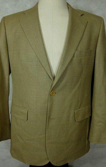 Neu Brooks Brothers 346 Hellbraun mit Blauer Leicht Seide und Wolle Sport Mantel