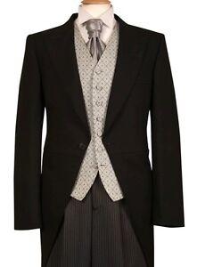 Herren Gebraucht Schwarz Frack Morgen Anzug Hochzeitskleid Royal Ascot Schweife