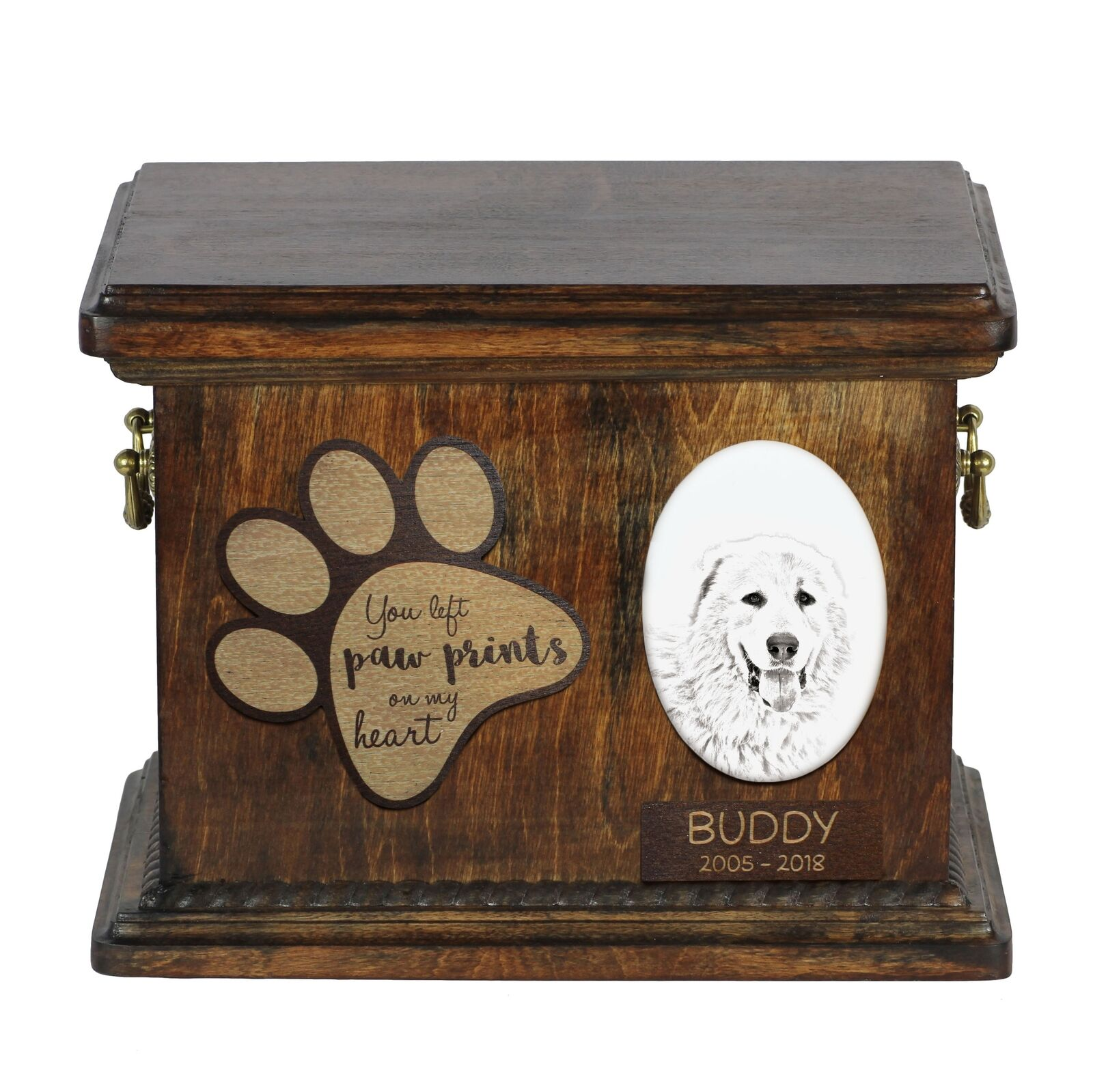 Pyrenean Mastiff - Urn for dog's ashes with ceramic plate and description,ArtDog