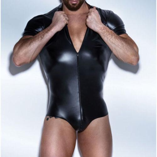 Men/'s Underwear Faux Leather Wet Look Zipper Wrestling Singlet Bodysuit Leotard