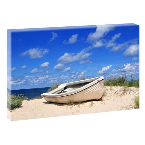 Boot am Strand  Bild Meer Nordsee Wandbild Leinwand Poster XXL 160 cm*80 cm 658