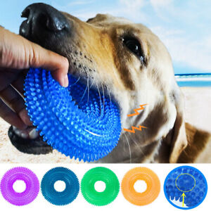 Pet-Dog-Teething-Chew-TPR-Squeaky-Toys-Ball-Durable-Bite-Resistance-Sound-Toys