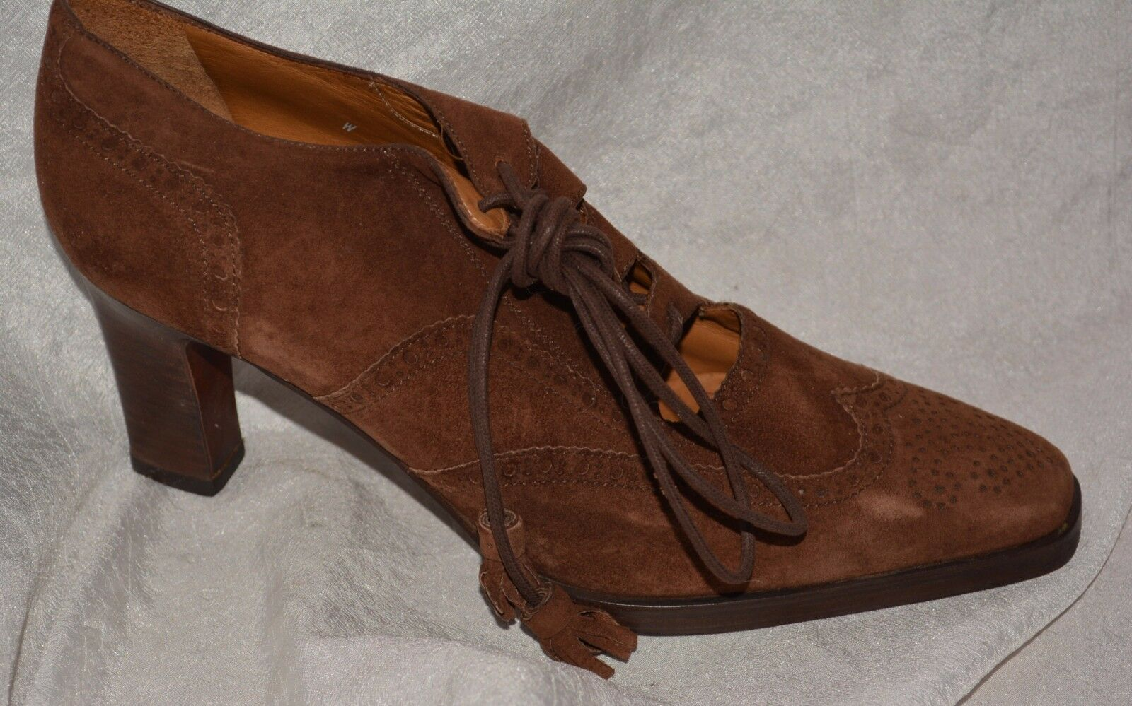 RALPH LAUREN Brown Lace Up Tie Wing Tip Pumps Size 9 Narrow AA NEW SHOES ladies