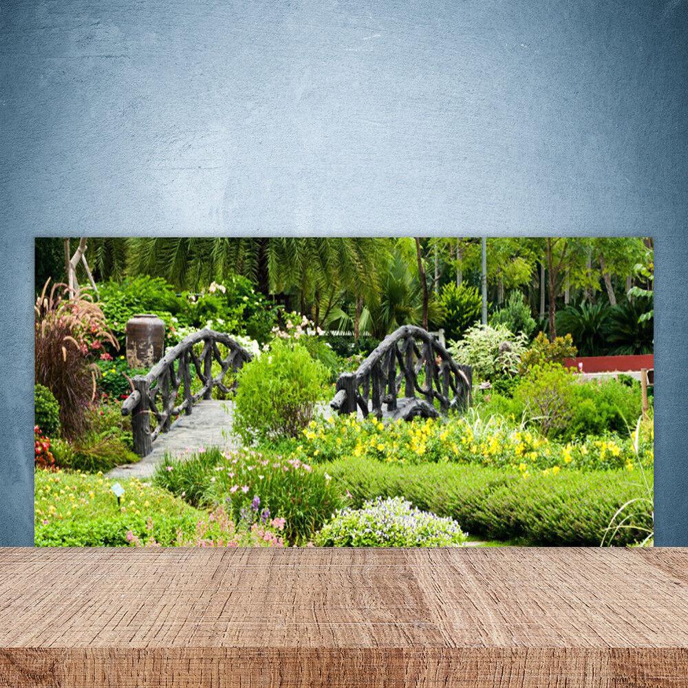 Crédence de cuisine en verre Panneau Paroi 100x50 Nature Pont Jardin Botanique
