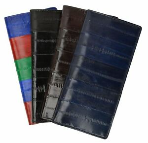 Eel-Skin-Leather-Checkbook-Cover-Basic-Case-Plain-Wallet-personal-check-Holder