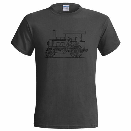 Thornycroft vintage huile tracteur blueprint homme t shirt
