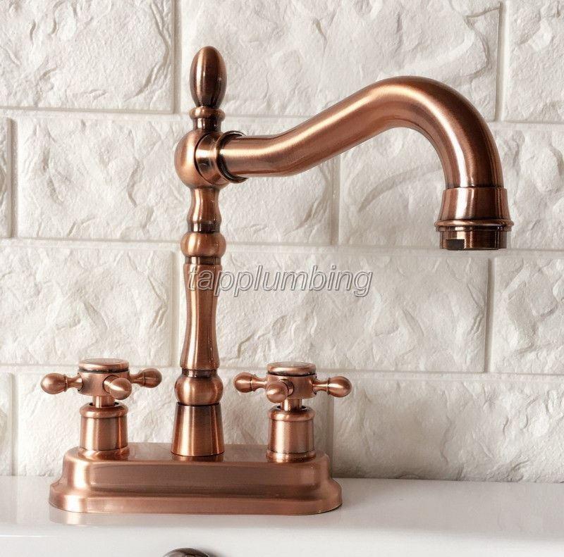 Rouge Cuivre Pivotant Bec Verseur de salle de bains robinet mitigeur lavabo robinets