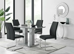 Imperia Grey High Gloss Dining Table Set And 4 Chrome Leather Dining Chairs Ebay