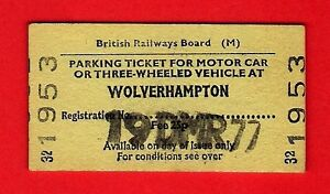 Railway-Ticket-BR-M-Parking-for-Motor-Car-Wolverhampton-25p-1977