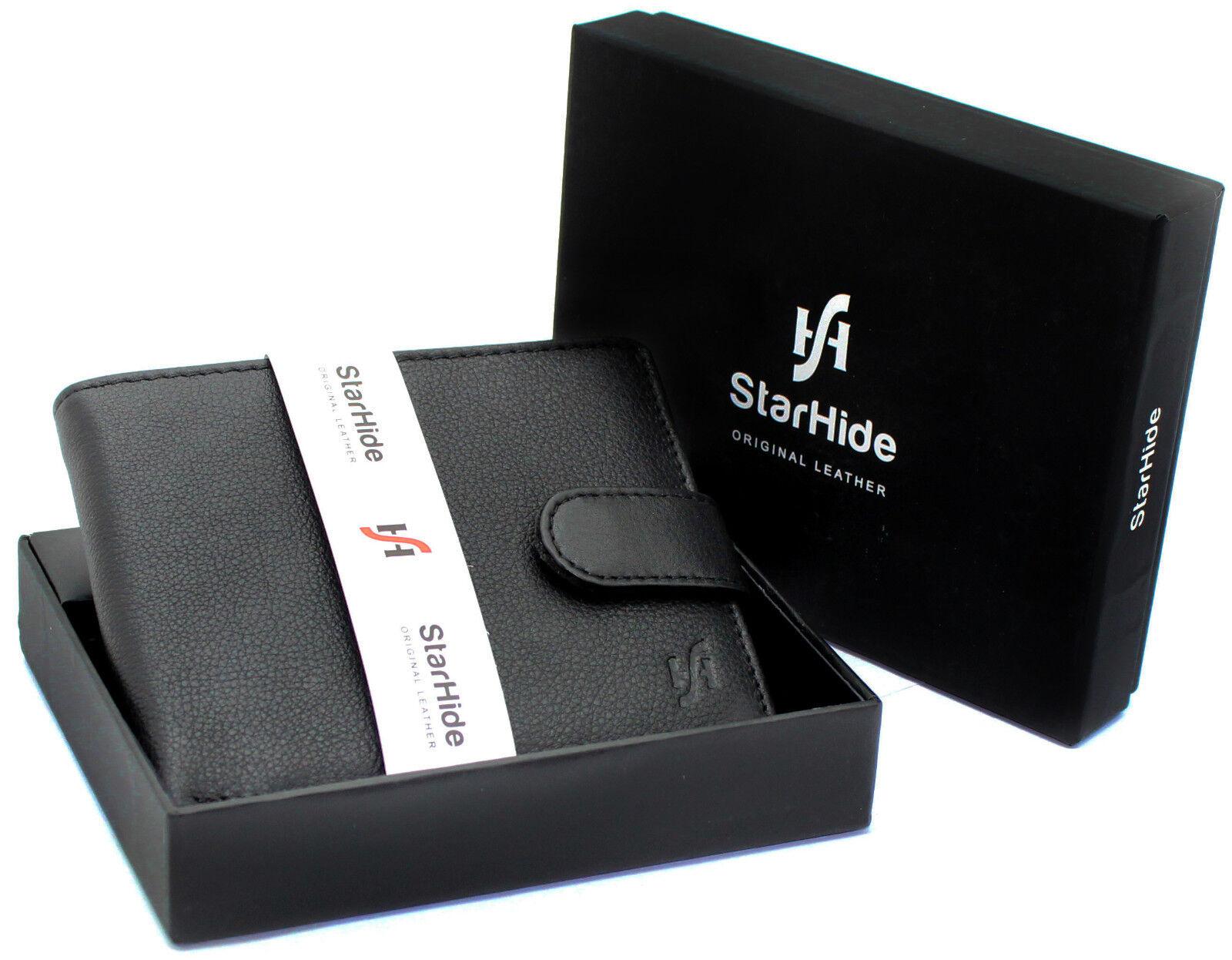StarHide Men RFID Blocking Genuine Leather Coin Pocket Wallet With Gift Box 1110