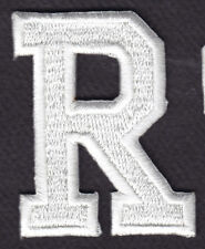 """LETTERS - WHITE BLOCK LETTER """"R"""" (1 7/8"""") - Iron On Embroidered Applique Patch"""